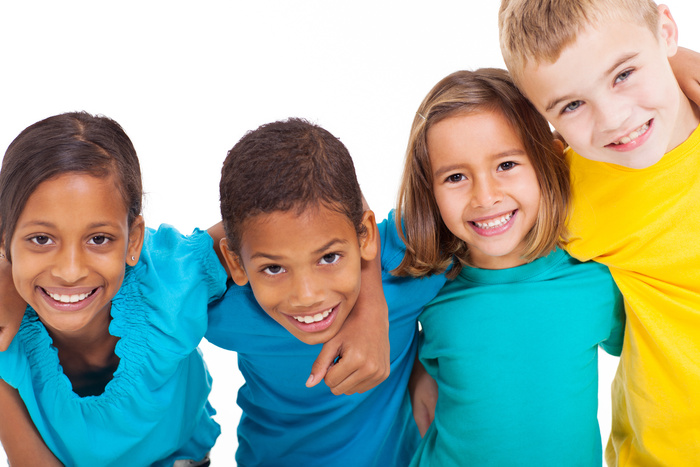 group of multiracial kids